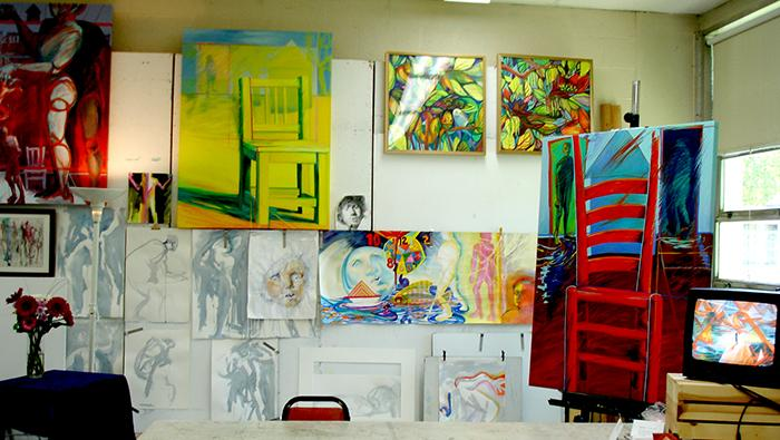 Works in progress, finished paintings, and an animation video evidence a very active studio.