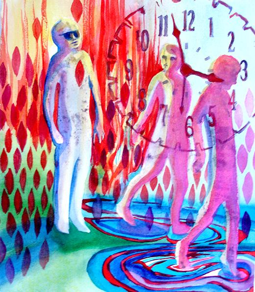 Colorful, patterned painting of 3 figures with a clock face superimposed.
