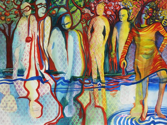 """""""Arabesque"""" is a figure grouping that appears to be reflected. Painted in 2017, it is 22"""" high by 30"""" wide, and developed with pattern and color."""