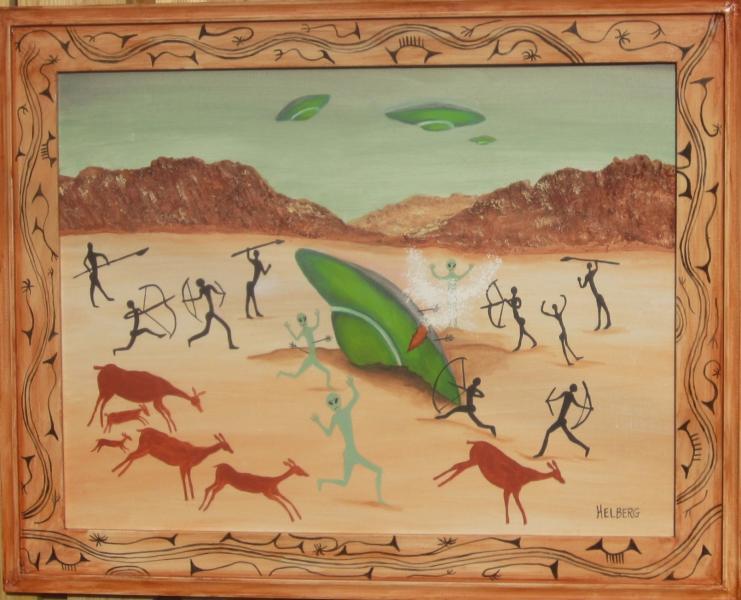 Aliens crash during Cave Man era