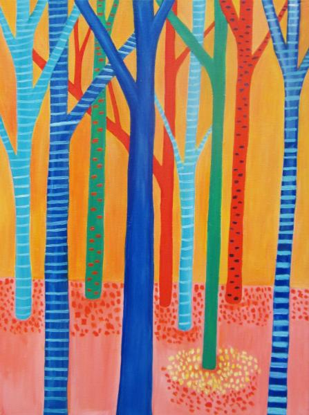 Brightly colored and abstracted trees.