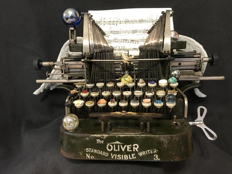 Typewriter assemblage  music  wings