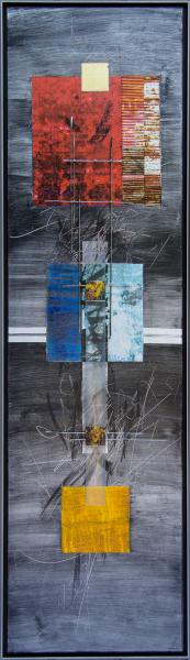 Wind Message Image transfer and pigments on aluminum with sculptural steel and polycarbonate structure.  13 w x 48 h x 1.5 d