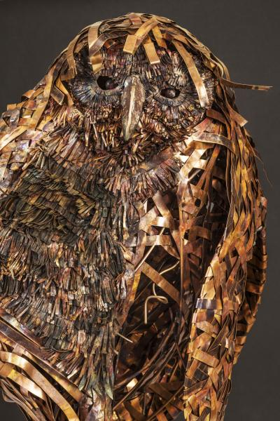 """great horned owl ideogram: secretive, concealed, covert qualities of woodland birds and mammals, tangled/knotty nature of the woods stainless steel, copper, bronze. 72"""" wide x 84"""" high"""
