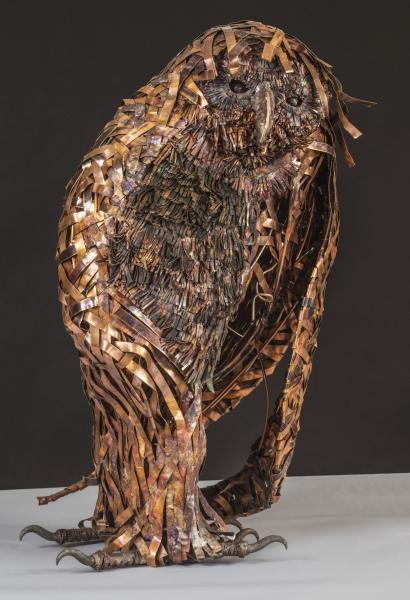 Balzac, great horned owl. ideogram: secretive, concealed, covert qualities of woodland birds and mammals, danger, tangled/knotty nature of the woods stainless steel, copper, bronze.