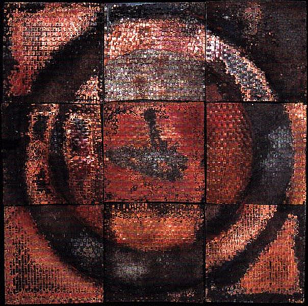 """Circle II""...a quilt of woven scrap copper. 9 patches quilted with steel"
