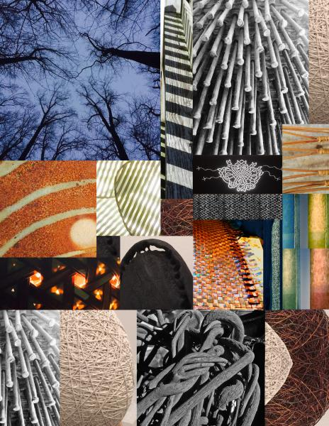 my original collages of studios, material and finished work would be appropriate for inclusion. I created this collage of completed work that I took photographs of while visiting exhibits  at the shows I attended.