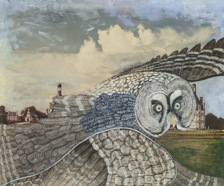 Original painting of Great Grey Owl on an old photograph