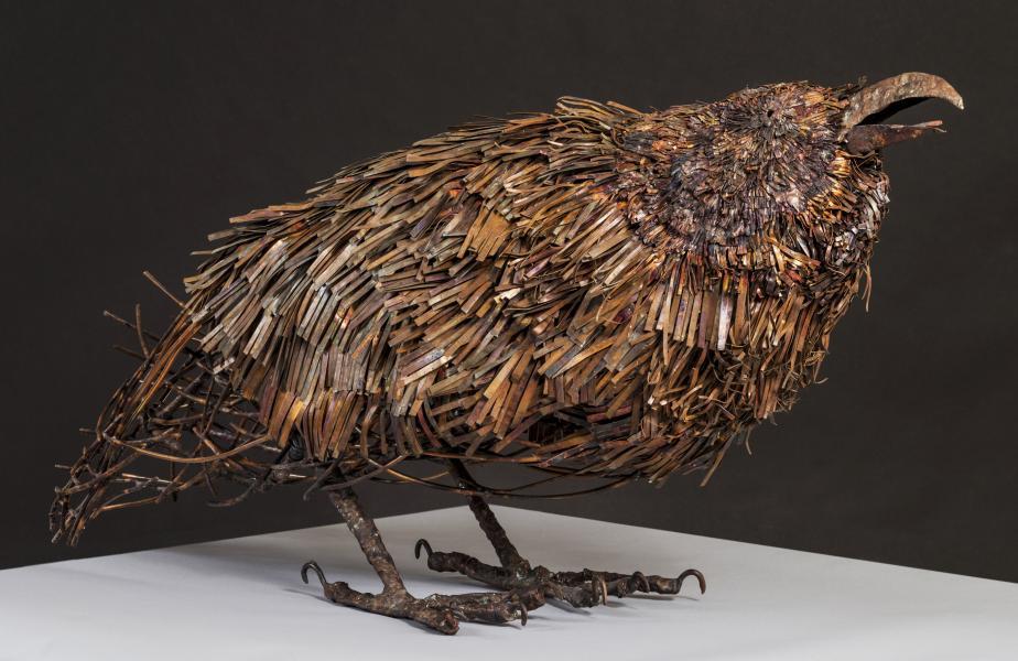 "Raven-the Orator ideogram: woodland eyes/beak, dense leaf pattern 29""x 40"" x 15"""