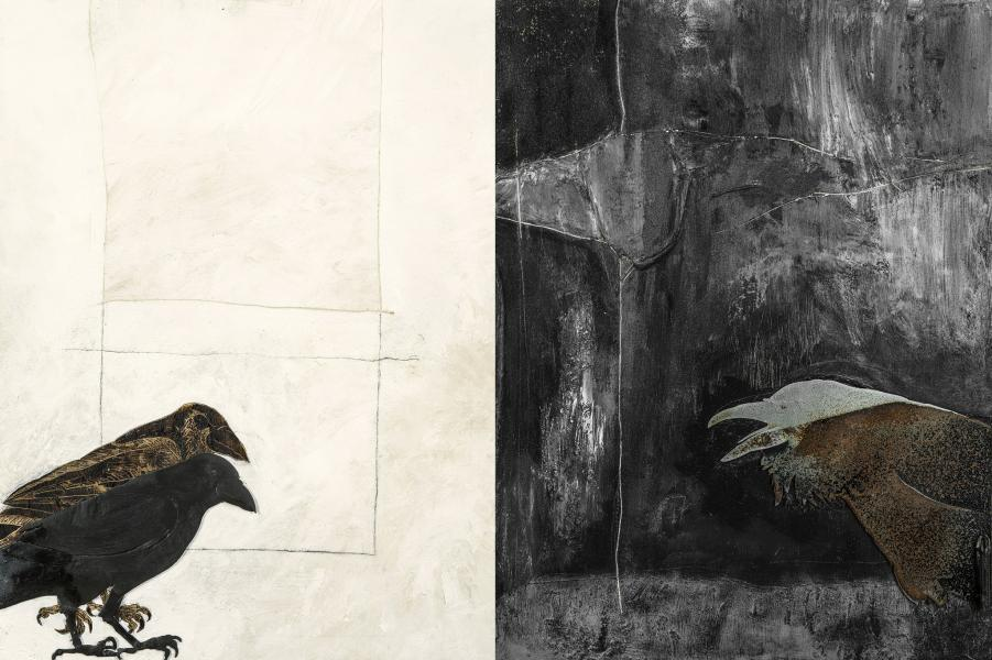 collage of 2 original paintings, wood burning, steel silohouettes, leaf litter and dirt