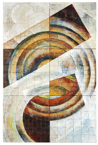Time-points, summer: a quilt of woven scrap copper. 6 patches quilted with steel