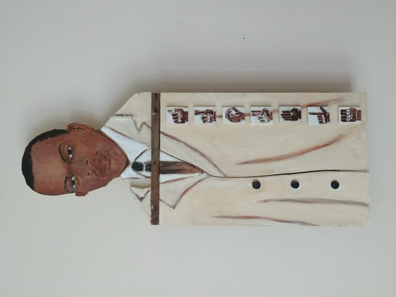 Acrylic with objects on wood and metal washboard. 33 x 12.5 inches