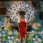 painted boy, collage, time travel, red coveralls, sculpture, afrofuturism