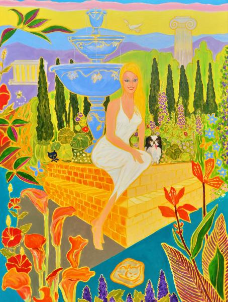 Colorful , Magic Realism , New Romanticism,Hope,Love ,Greek,myth,Goddess,Pets,Fountain,Blonde,Aphrodite
