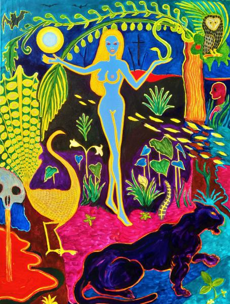 Colorful , Magic Realism , New Romanticism,Hope,Biblical,Genesis,Adam and Eve,Satan,Lilith,Panther, owl,skull,Evil,Darkness