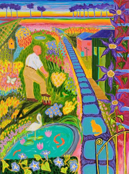Colorful , Magic Realism , New Romanticism,Hope,Love ,Family ,Gardening,England,Digging,Koy pond,Clematis,cat,Memories,childhood