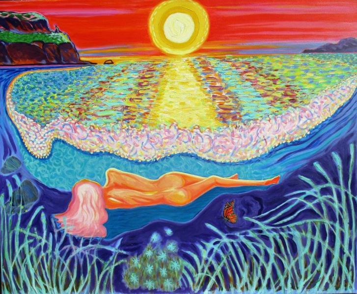 Colorful , Magic Realism , New Romanticism,Hope,Love ,Greek,myth,Goddess,Monarch,Ocean,Sunset,Shoreline,Nude,Bright,Blonde,