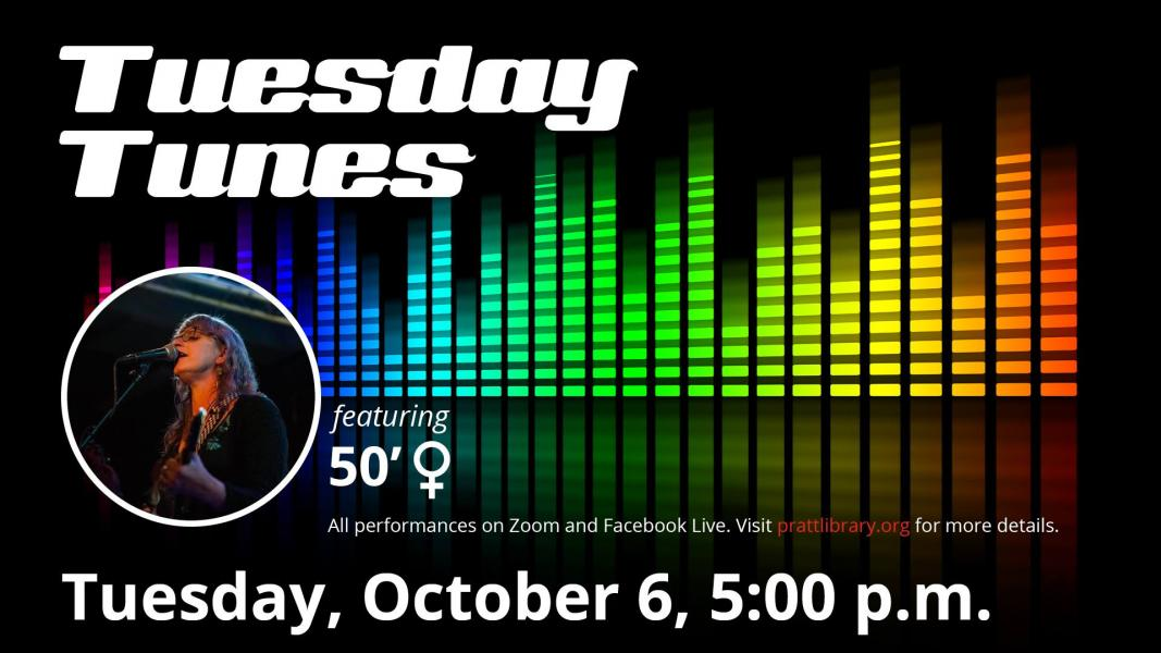 Promotion for Tuesday Tunes at the Pratt Libraries, Oct 2020