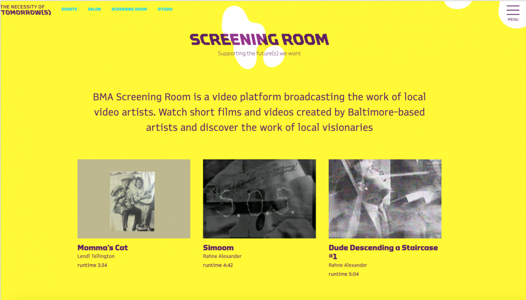 BMA Screening Room login screen