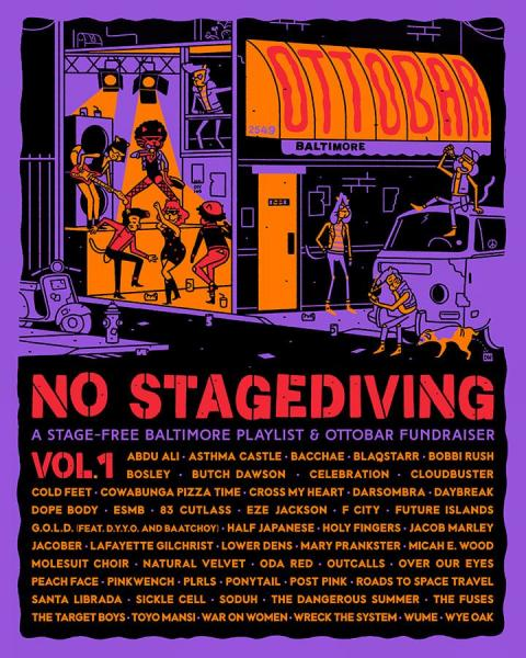 Cover art for No Stagediving, the Ottobar's Baltimore music benefit album