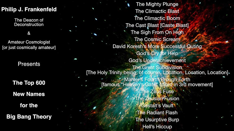 600 New Names for the Big Bang