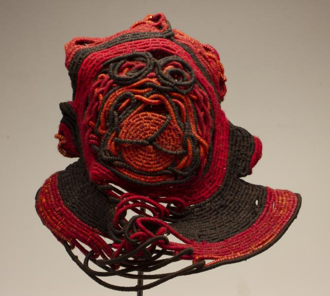 Coiled Mask 3, thread and rope, 2020, 24 x 13 x 16