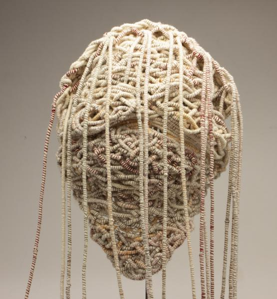 Coiled Mask 4 (back), thread and rope, 2021, 60 x 15 x 11 inches