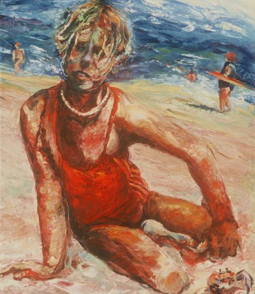 psychological portrait, child, impasto, summer beach