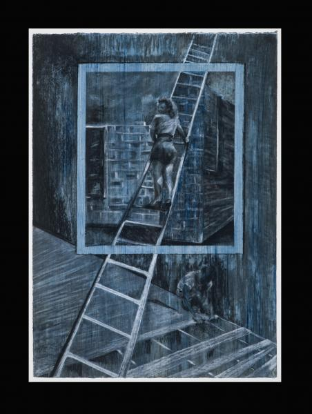 drawing, reconstructed memories, American dream, Jacob's ladder