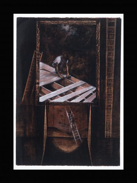drawing of builder, Jacob's ladder, memory through photography