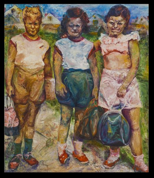 Three school girls painted with expressive palatte knife and colors
