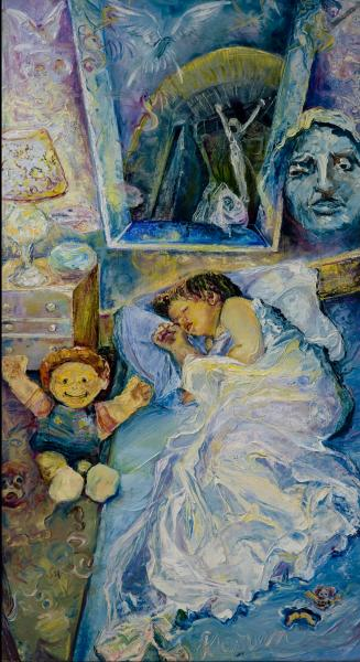 childhood dreams, sleep anxieties , oil paint, narrative