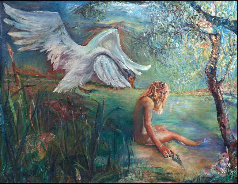 Rape of Leda, mythology, oil painting, feminist perspective