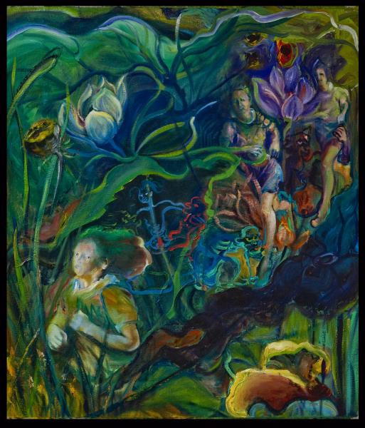 imaginary environment of a lotus swamp and woman jogger, slogging through the swamp of hungry ghosts.