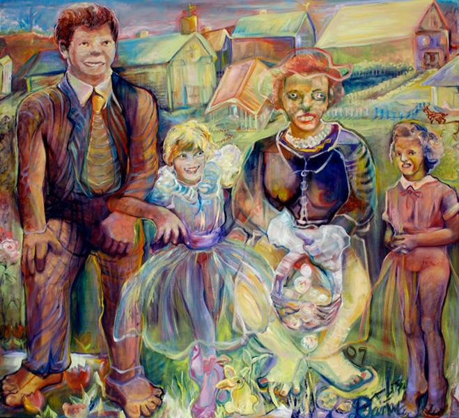 Surreal family portrait, using reference to art history. Father stiff, daughters, one gleeful the other snarly, mother in between, skull like face with an Easter bonnet