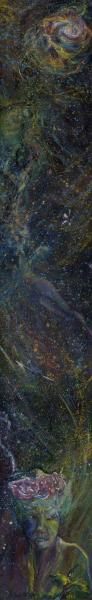 sliver oil painting, muted, subtle blues, swirling washes along the verticle format, an anxious portrait, floating body, fireflies return to the nebula.