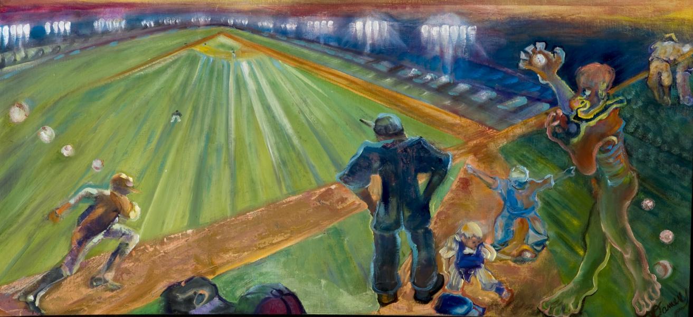 responsive painting to Ragain poem, baseball, identity,