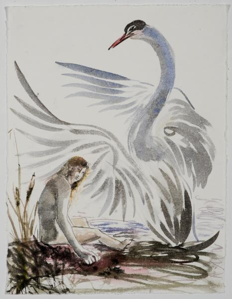 ink painting, watercolor, swan and girl