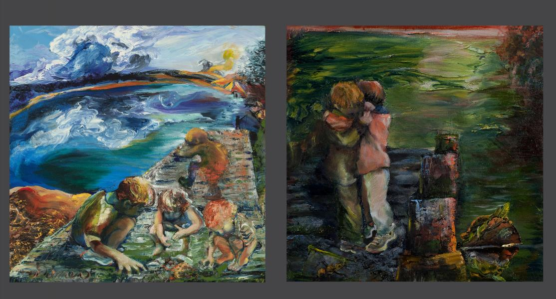 companion oil paintings for poem, in one children are searching under white culmulus clouds hiding whimsical character, the other two children hug, comforted and surrounded by a deep green lake