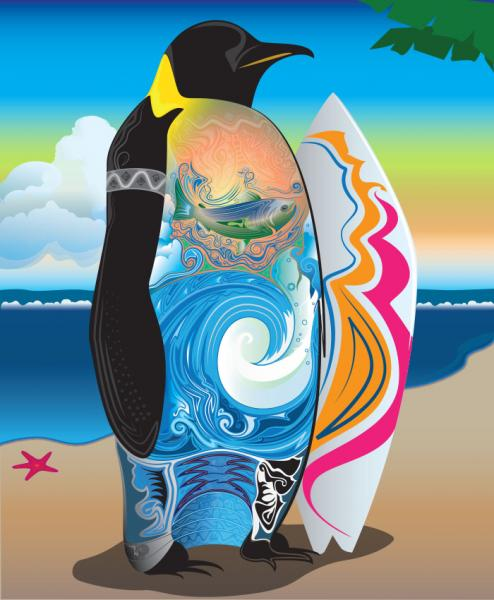 surfing, penguin, vector, illustrator