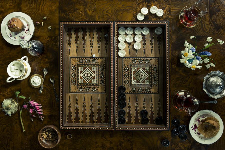 "Photograph of ""Backgammon, Hibiscus, & Muffins."""