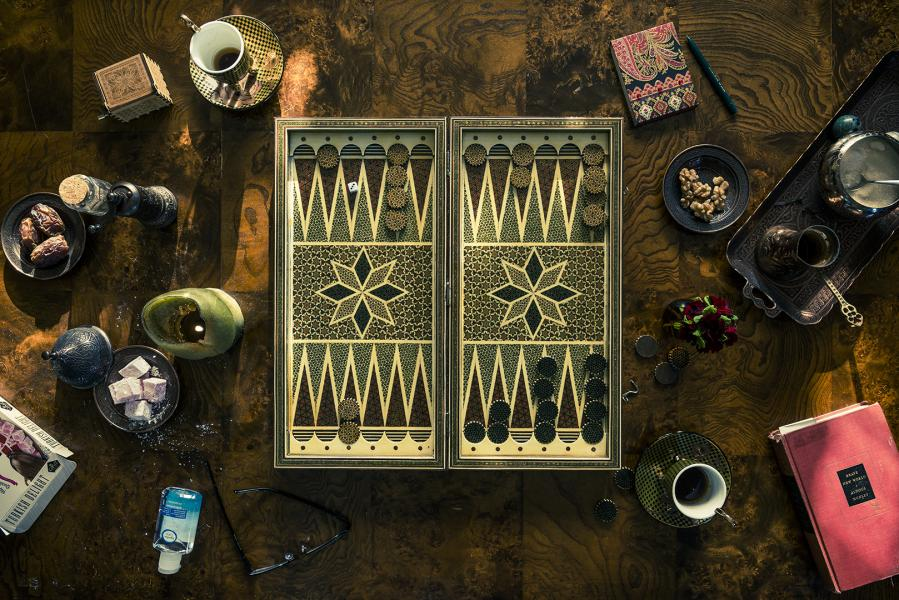 "Photograph of ""Backgammon, Dates, & Rose Lokums."""