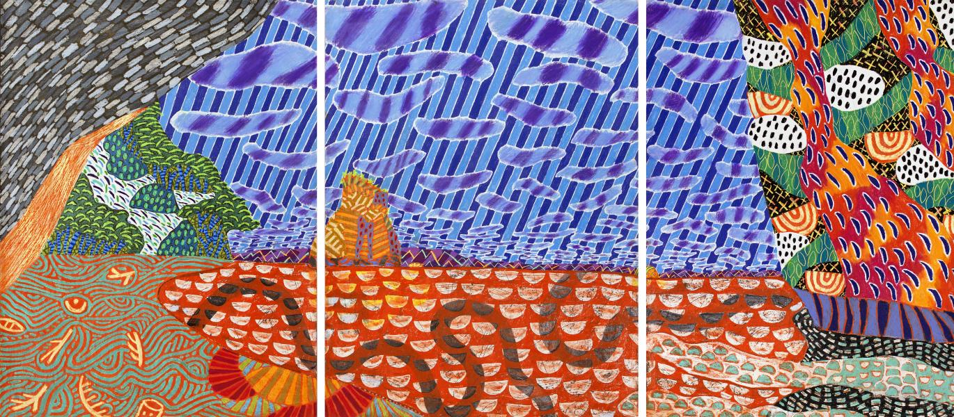 Cathedral Cove (Triptych), 40 x 120 inches, Wax Oil Crayon and Ink on Paper, 2016