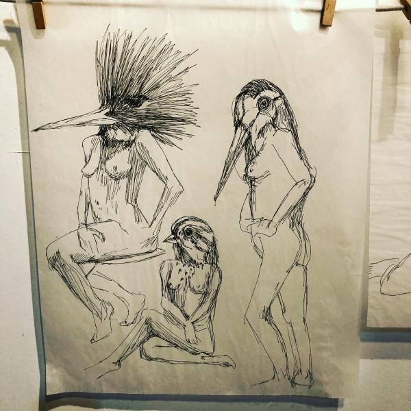 illustation, ink drawing, figure drawing