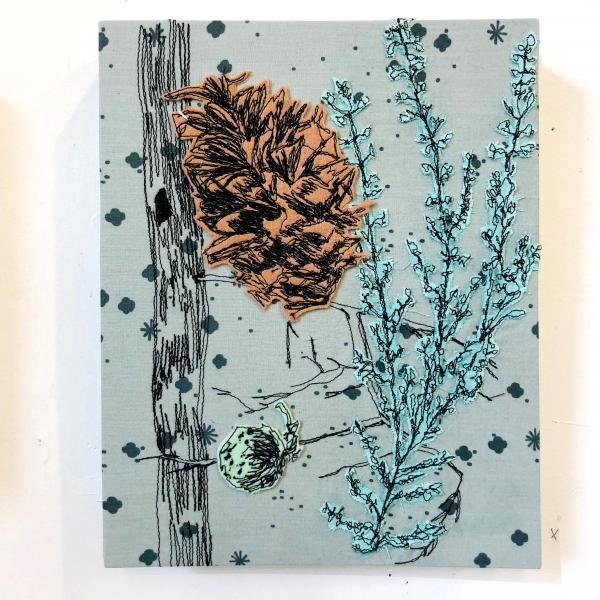 fiberart, thread drawing, nature, seeds, trees