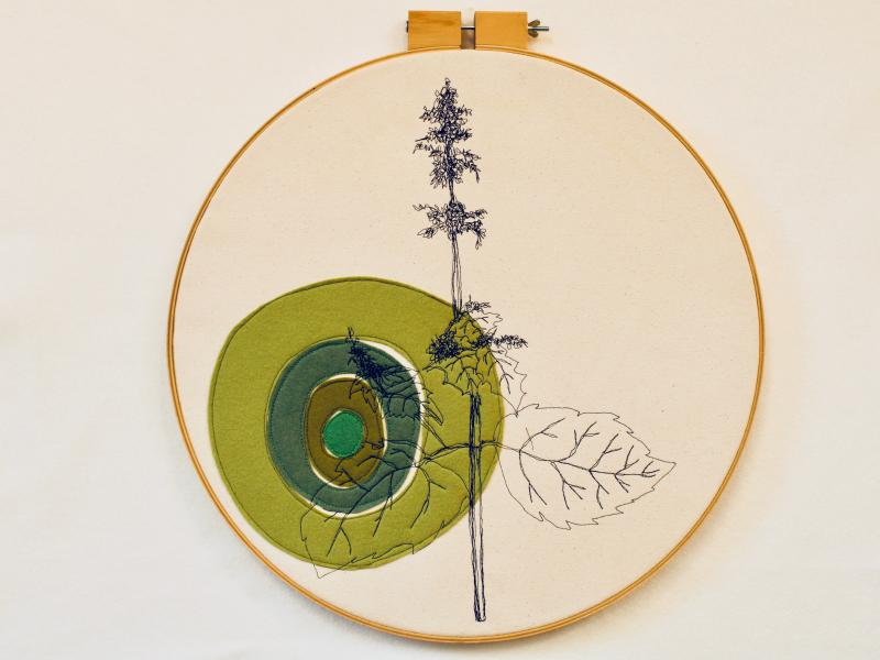 Freehand machined embroidered, catnip, felt appliqué, edible plants, decor pillow, plant illustration