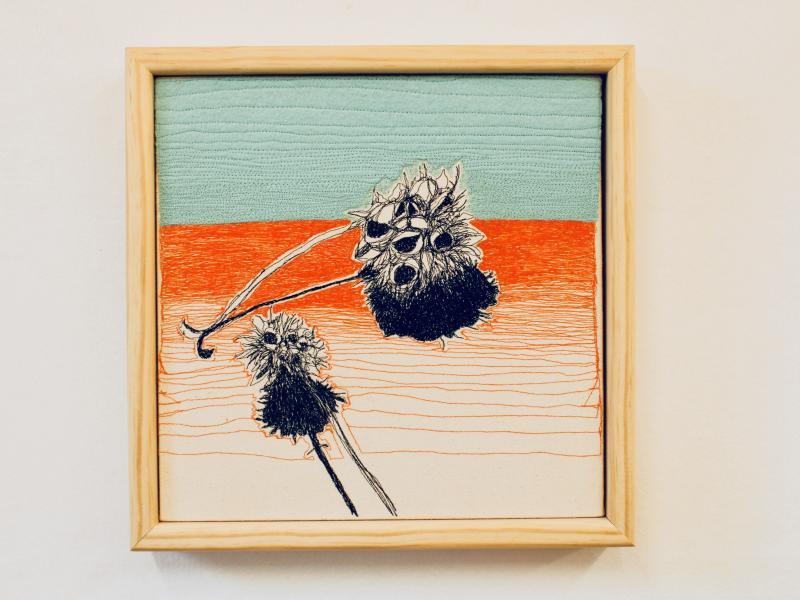 freehand machined embroidered, nature art  , felt appliqué, leaves, decor pillow, plant illustration d
