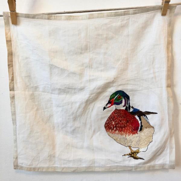 Hand embroidered, wood duck, fiber art, thread painting, endanger birds, installation, environmental art