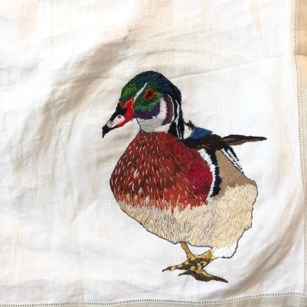 Hand embroidered , wood duck, fiber art, installation, endangered birds, environmental