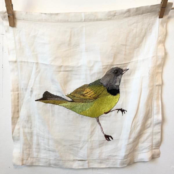 Hand embroidered , morning warbler, fiber art, installation, environmental , endangered birds